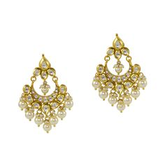 Golden handcrafted crescent earrings adorned with white kundan stones and pearl drops. Closure: Push back Materials: Metal alloy Sparkle, Brooch, Pearls, Stone, Metal, Earrings, Color, Jewelry, Brooch Pin