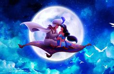 Princess Jasmine and Aladdin in the Whole New World in the moonlight of the moon on the magic carpet Disney Pixar, Disney Nerd, Arte Disney, Disney And Dreamworks, Disney Animation, Disney Love, Jasmine E Aladdin, Disney Princess Jasmine, Princess Aurora