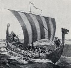 A Viking ship under full sail.  Is that Hakon standing at the dragon-headed prow?