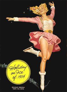 Pink bolero jacket n skirt set with fur trimmed skates! #vintage #ice skater #pinup