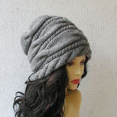Women Hat  Hand Knit Hat  Slouchy Women Hat  by AlbadoFashion, $38.00