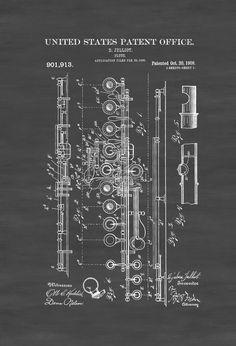 1908 Flute Patent - Patent Print Wall Decor Music Poster Music Art Musician Gift Band Director Gift Wind Instrument Jazz Art by PatentsAsPrints