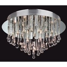 Firstlight Perla Flush Mount in Clear and Black Glass