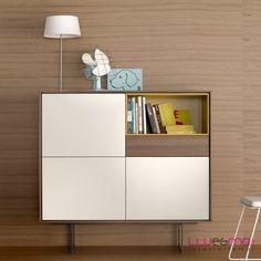 www.muebleslluesma.com aparador en nogal de la coelccion aura de treku mobiliario para combinar en espacios grandes con muebles de salon y mesas modernas.