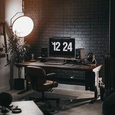 Home Studio Setup, Home Office Setup, Home Office Design, Pc Setup, Desk Setup, Room Setup, Small Home Offices, Desk Inspiration, Ergonomic Chair