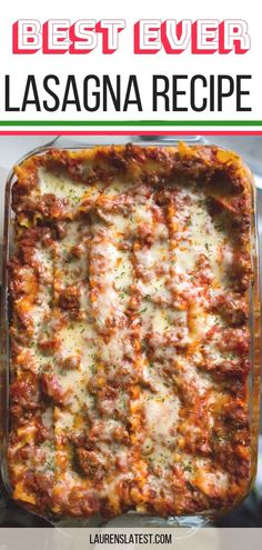 This Italian Lasagna is hands down the Best Lasagna Recipe ever! Easy, cheesy, meaty and so so delicious! The mix of parmesan, mozzarella and ricotta is perfect and makes this lasagna taste just like the meat lasagna you order at an Italian restaurant! Pasta Recipes, Beef Recipes, Cooking Recipes, Lasagna Recipes, Easy Cooking, Healthy Cooking, Cake Recipes, Best Ever Lasagna Recipe, Casserole Recipes