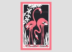 Art Deco Pink Flamingos Flamingos Cross by NewYorkNeedleworks, $8.50