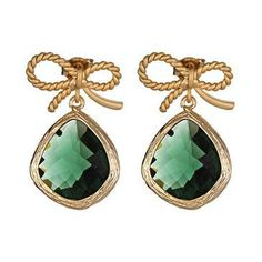 Emerald Green, an exquisite color! These are drop earrings with a gold bow  ♥