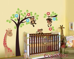 Decals For Nursery - Monkeys Wall Decal Jungle Gym on the Tree with Giraffe  - Children Stickers Boy Girl - PLSF020R