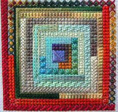 The CARON Collection – Free Needlepoint Patterns Log Cabin Quilt Block