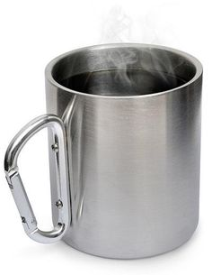 Stainless steel 200 ml camping and travel mug with karabiner clip. Clip this cup to your rucksack or walking gear and take a drink from a flask or natural sourc