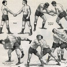 Antique Sports Print Wrestling Moves by AntiquePrintsAndMaps, $10.00