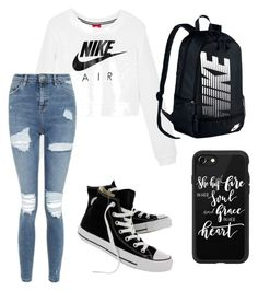 """""""school"""" by jcoatney12 on Polyvore featuring NIKE, Topshop, Converse and Casetify"""