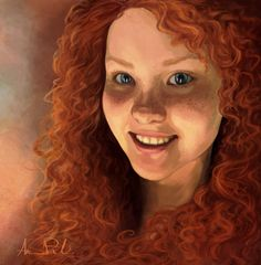 I wanted to try something new, so here's my take on a (somewhat) realistic princess Merida portrait. Princess Merida, Disney Pixar, Artsy, Animation, Deviantart, Portrait, Painting, Headshot Photography, Painting Art