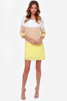 Cute Color Block Dress - Shift Dress - Yellow Dress - $40.00