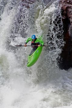 Ken Whiting running a waterfall on the Rouge River in Quebec, Canada