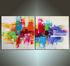 Abstract Painting, 48''  ORIGINAL Palette Knife Fine Art Painting Ideal For Your Sofe Abstract Ready to Hang 48''x24'' on Etsy, $299.00