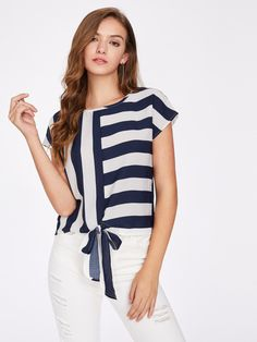 Online shopping for Mixed Striped Tied Front Top from a great selection of women's fashion clothing & more at MakeMeChic.COM.