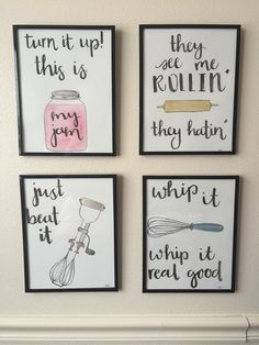 Watercolor Kitchen Puns Set of 4 by BevCartwrightDesigns on Etsy