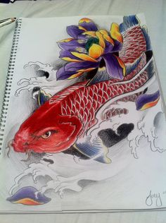 koi fish tattoo | Red Koi fish with lotus by ~j0oey on deviantART