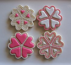 Hearts - decorated cookies - pretty pink