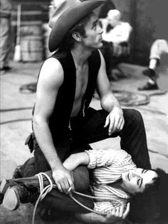 "1956: Liz Taylor and James Dean on ""Giant"" set"
