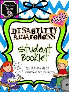 disability awareness posters free | DISABILITY AWARENESS STUDENT BOOKLET {FREE} - TeachersPayTeachers.com