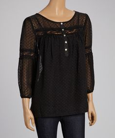 Look at this #zulilyfind! Peridot Black Swiss Dot Lace-Trim Top - Women by Peridot #zulilyfinds