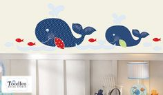 A cute design in peel 'n stick FABRIC decal featuring 2 whales and fish.