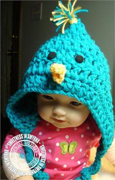 Blue Bird Hat Crochet Baby Hat Easter Baby by SweetnessInSmyrna, $24.99