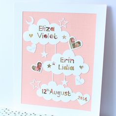 Baby twins papercut birth announcement by Gingerhearts