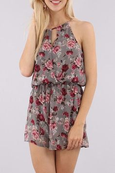 { Grey Floral Romper } Anchored Hope Boutique
