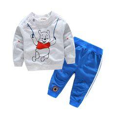 HOT 2016 Cotton Children cartoon Baby Boys clothes set kids Clothing suit bear t shirt+Pants 2Pcs/set