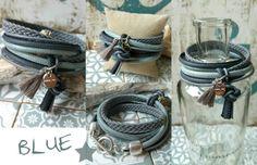 Wickelarmbänder - Armband ★ blau - grau ★ Wickelarmband aus Leder - ein Designerstück von charm_one bei DaWanda