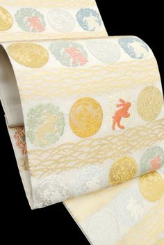 【山口美術織物】 特選唐織袋帯 ≪御御帯-おみおび-≫ 「月に花兎文」