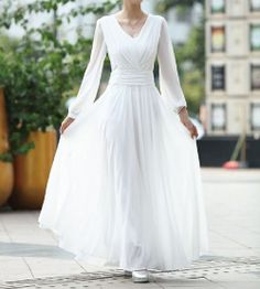 Ladylike White V-Neck Ruched Long Sleeves Chiffon Women's Evening DressVintage Dresses | RoseGal.com  What do yo uthnk about this VINTAGE dress  even in white since I never had a REAL wedding until this one for our 30th anniversary?  Only $69 and change w free shipping!