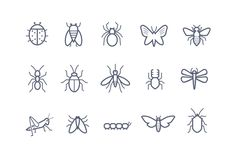 15 Insect Icons Graphics Here are fifteen outline icons representing a variety of insects. Included is a bee, butterfly, lady by Creative VIP Ant Tattoo, Spider Tattoo, Tattoo Outline, Dope Tattoos, Mini Tattoos, Small Tattoos, Stick Poke Tattoo, Caterpillar Tattoo, Beetle Tattoo