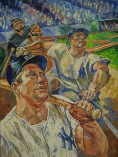 Mickey Mantle and Roger Maris, casein on board c.1961 by Russell Hoban, unpublished TIME cover art