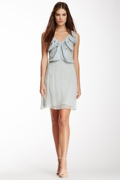 Fendi Pleated Silk V-Neck Dress