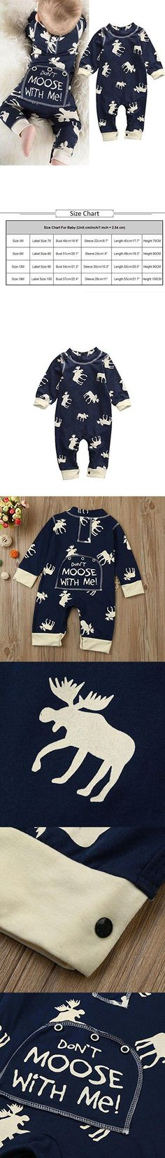 DON'T MOOSE WITH ME ROMPER -  Toddler Infant Baby Boy Girl Long Sleeve Deer Romper Outfits Set Jumpsuit Bodysuit Clothes (12-18 months, Navy)    https://presentbaby.com
