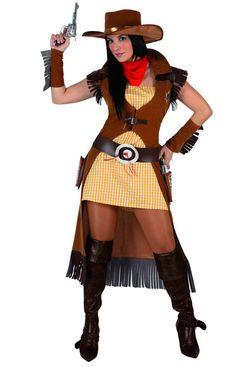 Disfraz de vaquera para mujer: Este disfraz de vaquera para mujer se compone de seis elementos: un vestido, una chaqueta, unos manguitos, un sombrero, un cinturón y un pañuelo (botas no incluidas). El vestido es a...