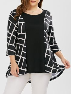 Geometric Pattern Smock Blouse in White And ...