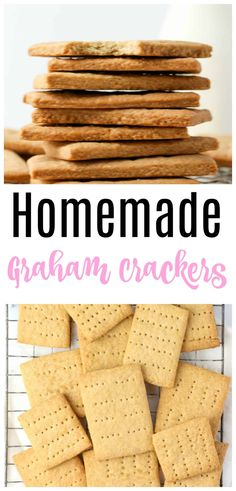 Homemade Graham Crackers Recipe - want to make the best S'mores ever? Then make graham crackers from scratch! Made with whole wheat flour, cinnamon - these couldn't be easier! Graham Cracker Recipes, Homemade Graham Crackers, Healthy Cookies, Yummy Cookies, Easy Homemade Cookies, Homemade Food, Diy Food, Delicious Cookie Recipes, Snack Recipes