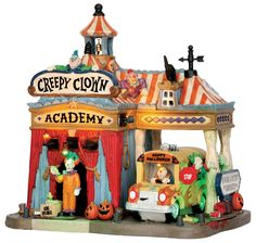 Lemax Creepy Clown Academy SKU# 55905 - Sequential lighting highlights various features/passengers of the unit. Lights flash simulating lightning.  Released in 2016