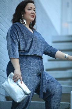 2274f5f2e60 Silver and blue sparkle - glitter jumpsuit with silver accessories on plus  size over 40 fashion