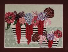 BB Needlepoint Designs BB 35 Striped vases with flowers - Inspiration from WAFA - world association flower show in Boston in 2012 Stitch guide available
