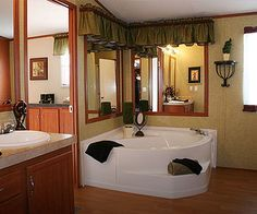 single wide mobile home indoor decorating ideas Garden Tub Decorating, Mobile Home Decorating, Decorating Ideas, Small Mobile Homes, Single Wide Mobile Homes, Single Wide Remodel, Gray Home Offices, Mobile Home Bathrooms, Small Home Theaters