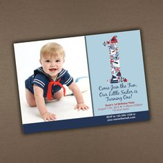 Nautical Birthday Invitation with Photo by Bananabel on Etsy
