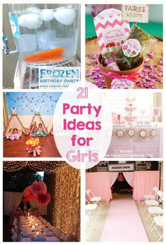 21 Party Ideas for Girls! - Princess, Frozen, Rock Star, Fashion Show, Movie Star, Minnie Mouse, Baking, American Girl.... this post has it all!