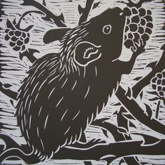 Feast / a mouse eating blackberries - linocut - Mavina Baker, U.K.